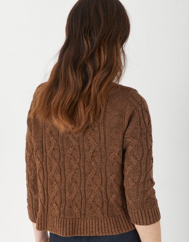 Cárdigan corto ochos marrón