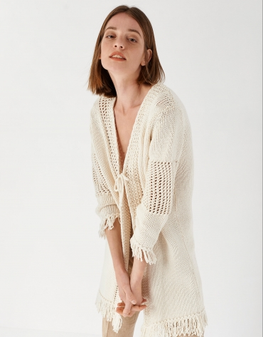 Off white knit long jacket with fringe