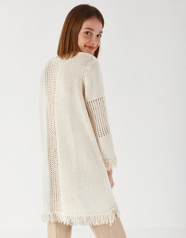 Off white knit long jacket with fringe