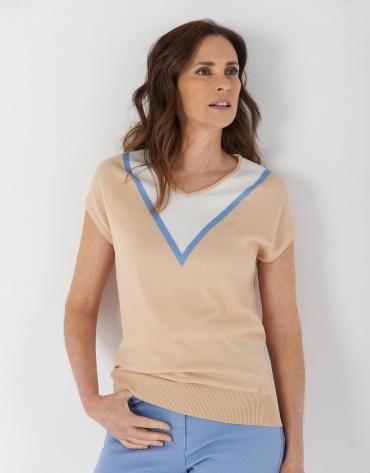 Beige short sleeve sweater