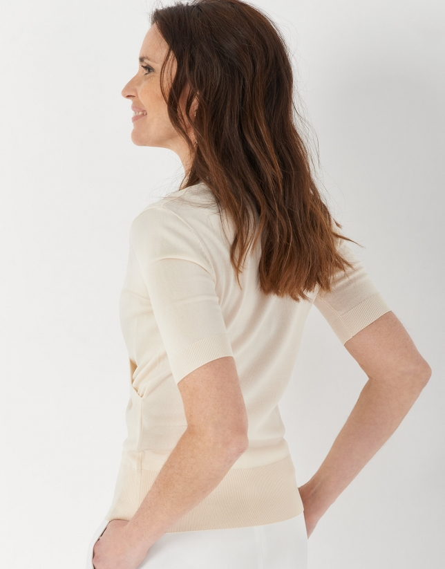 Sand-colored crossover sweater with short sleeves