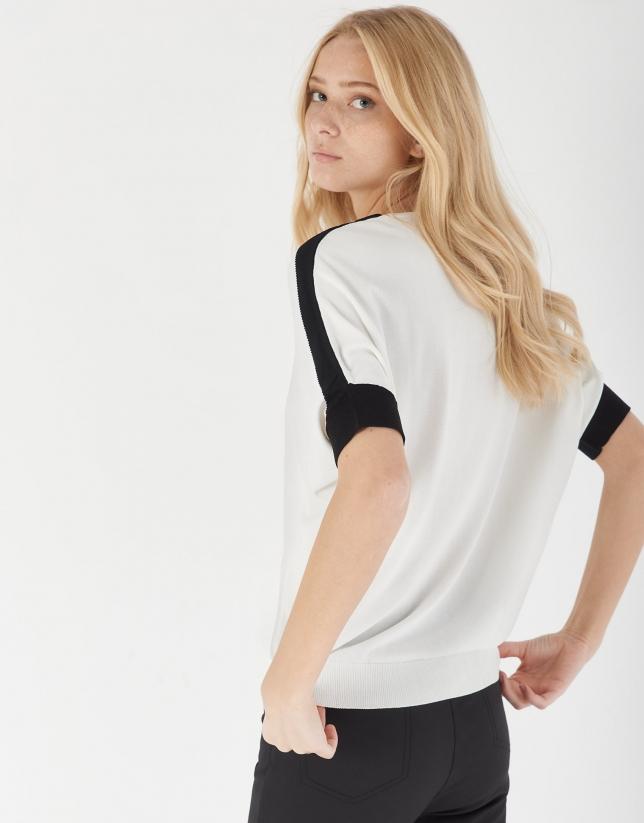 Jersey manga caída blanco y negro