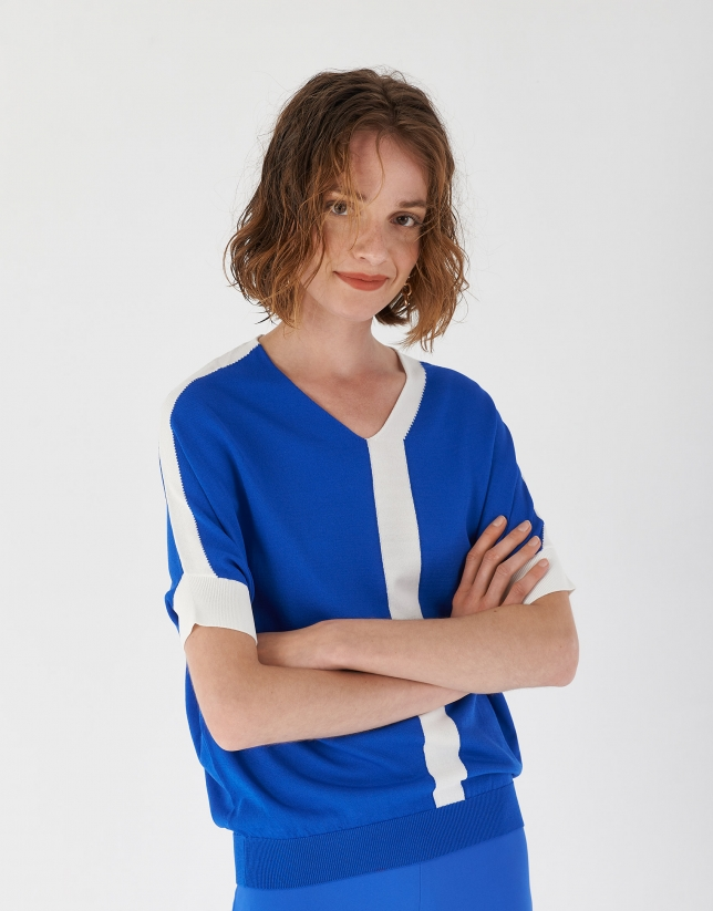 Blue and white sweater with dropped sleeves