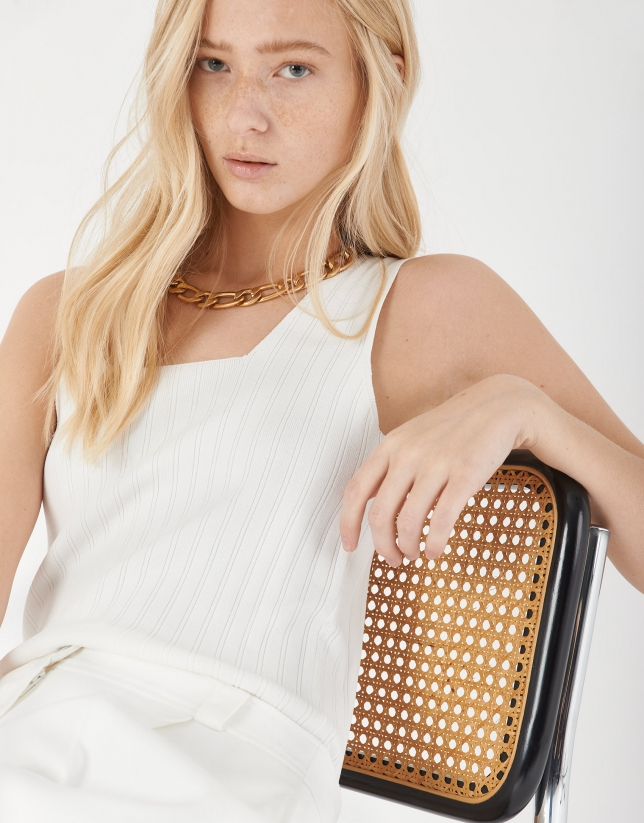 White checked sleeveless top with square neck