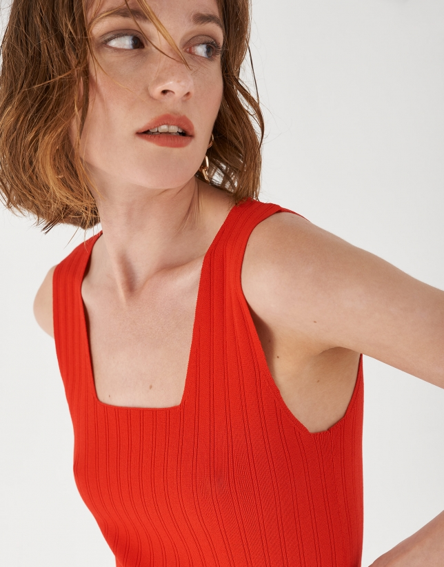 Red checked sleeveless top with square neck