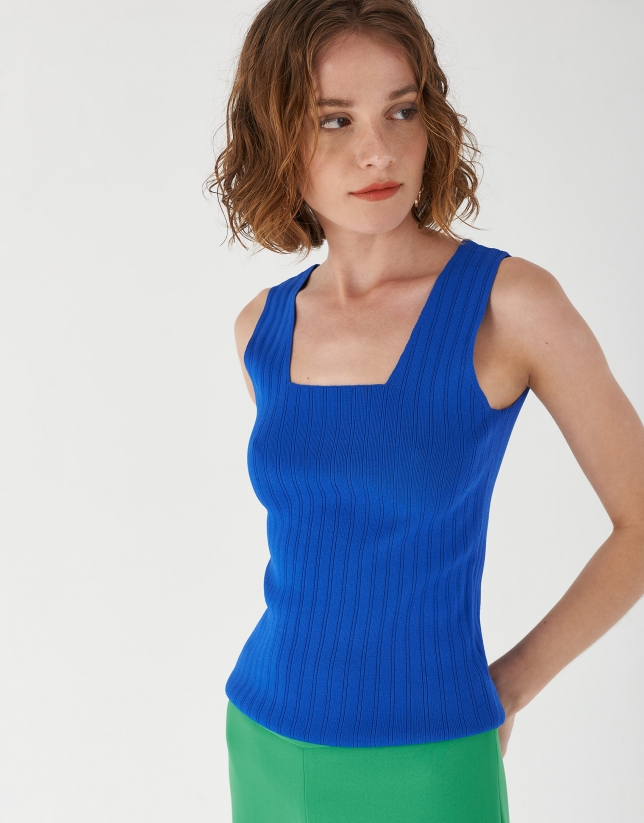 Blue checked sleeveless top with square neck