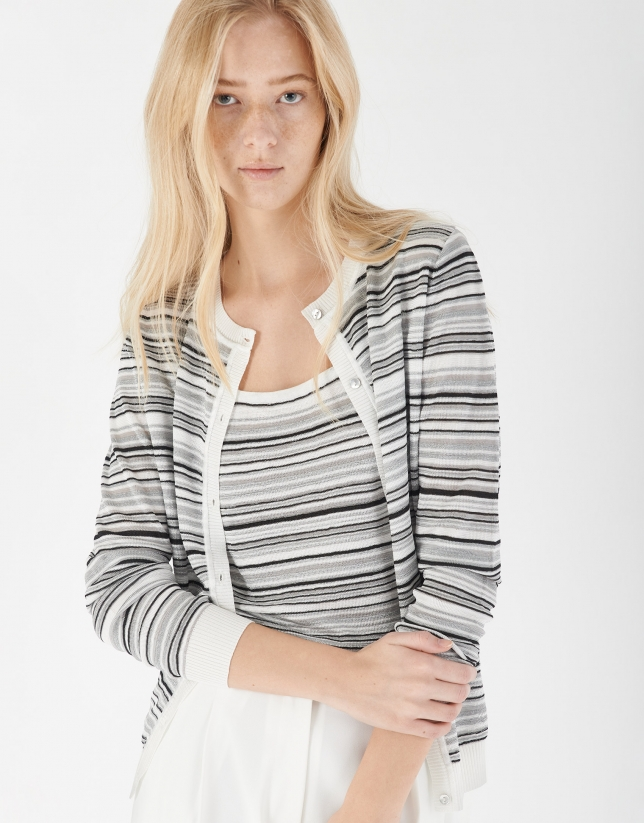 Black and white striped sleeveless lurex cardigan