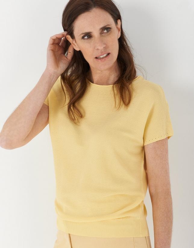 Jersey punto manga murciélago amarillo
