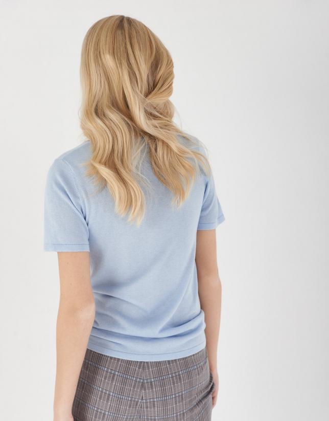 Jersey manga corta seda/cachemira azul