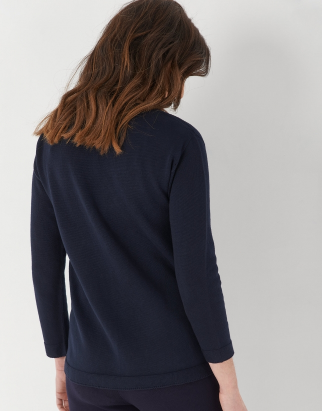 Blue sweater with French sleeves