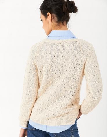 Sand-colored decorative knit sweater