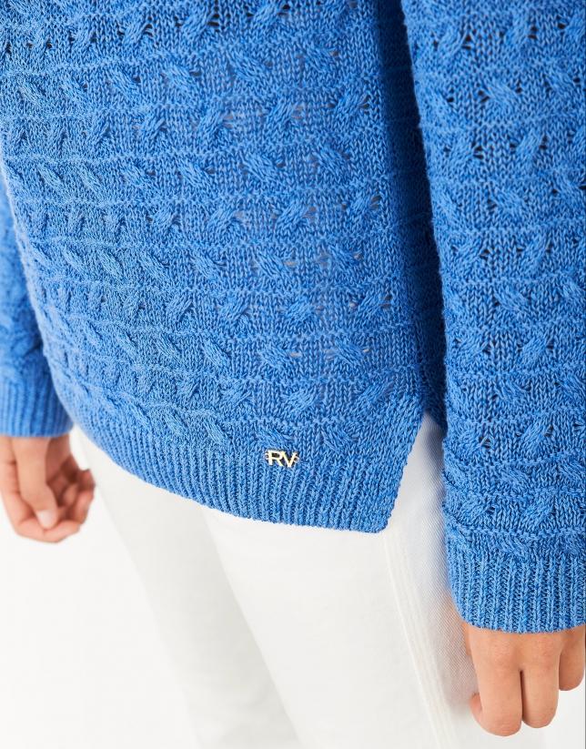 Blue decorative knit sweater