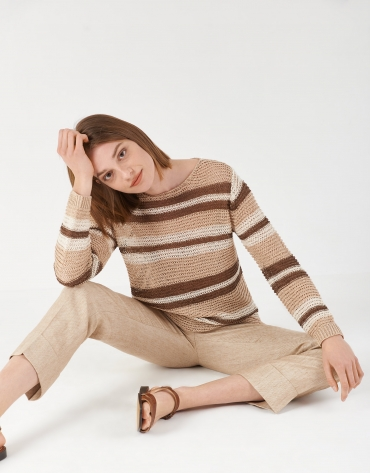 Brown and beige striped lurex sweater