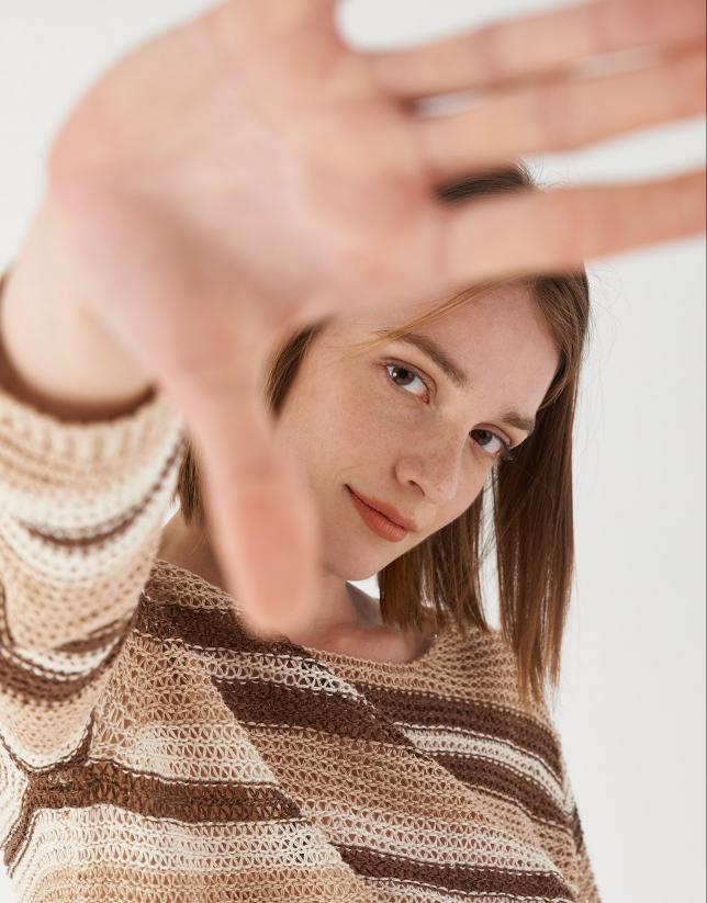 Brown and beige striped lurex sweater