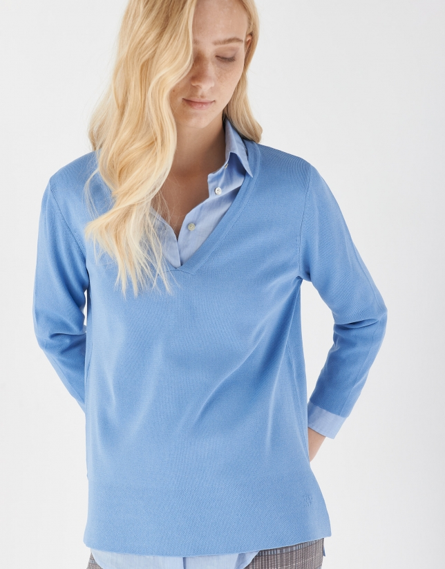 Blue oversize sweater with side openings