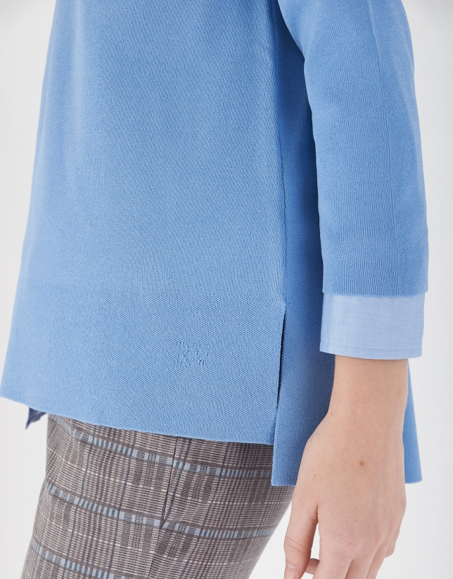 Jersey oversize aberturas laterales azul