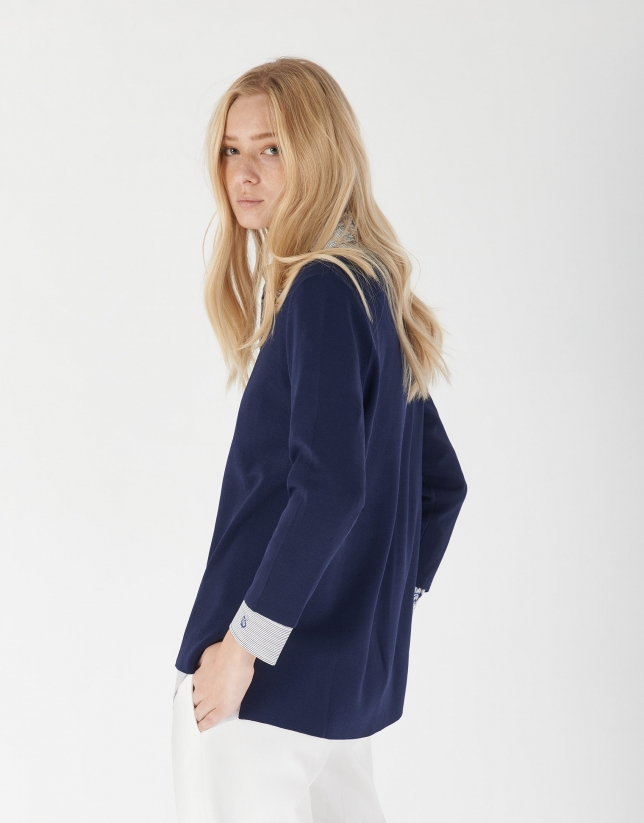 Navy blue oversize sweater with side openings