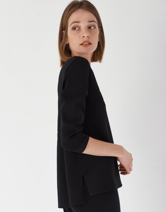 Black oversize sweater with side openings