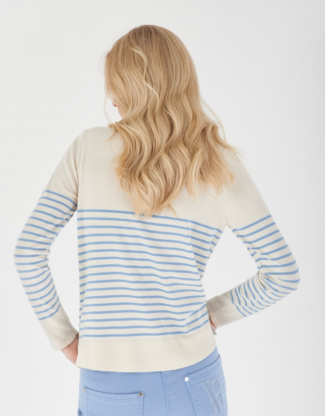 Beige and blue striped sailor sweater