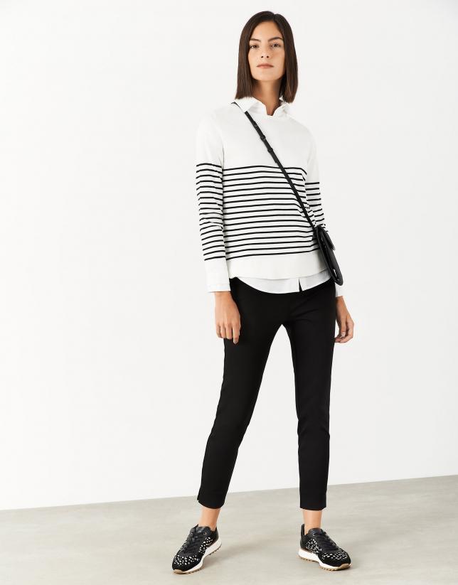 Jersey marinero blanco rayas negras