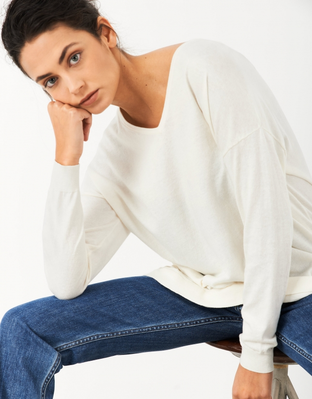 White oversize sweater with V-neck