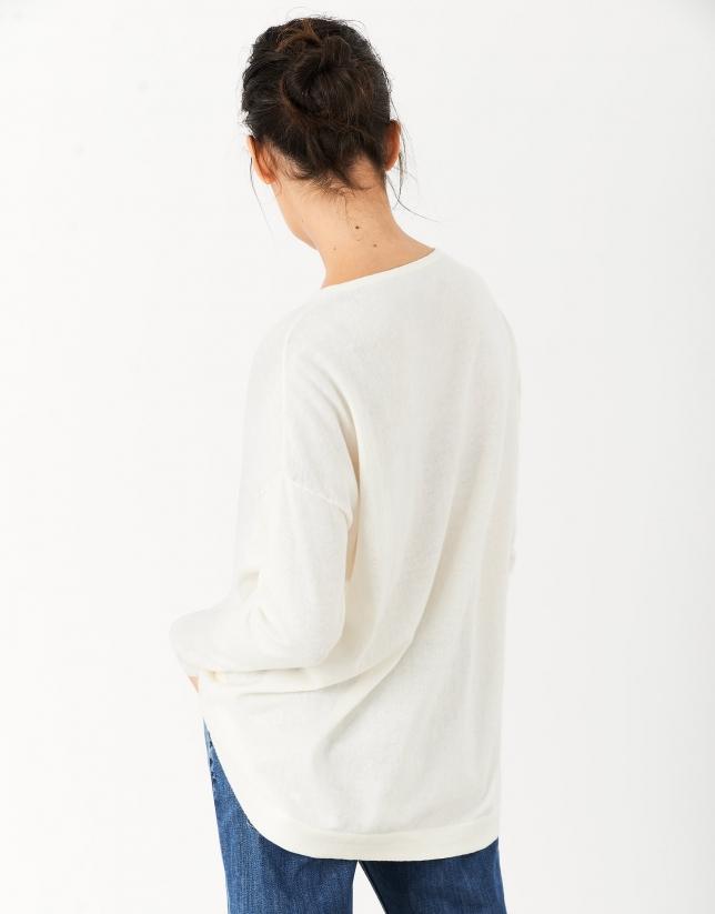 Jersey oversize cuello pico crudo