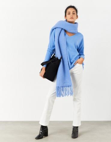 Blue oversize sweater with V-neck