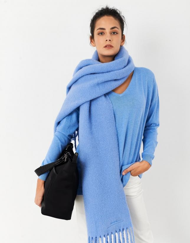 Jersey oversize cuello pico azul