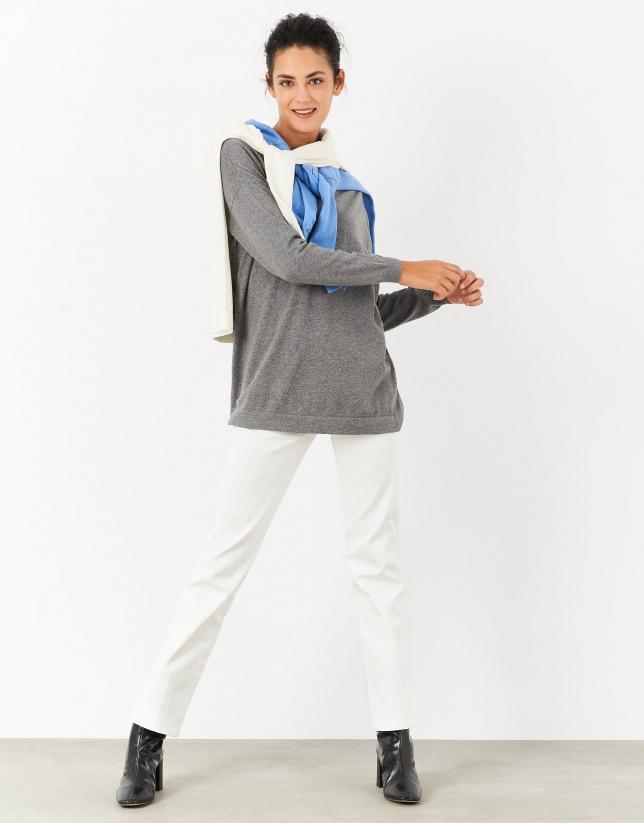 Jersey oversize cuello pico gris