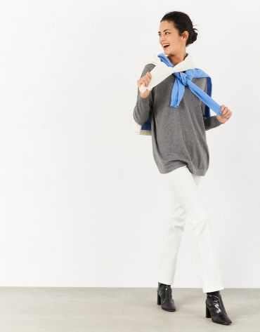 Gray oversize sweater with V-neck