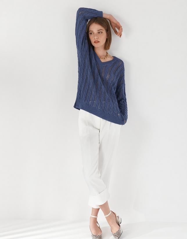 Blue openwork sweater with V neck