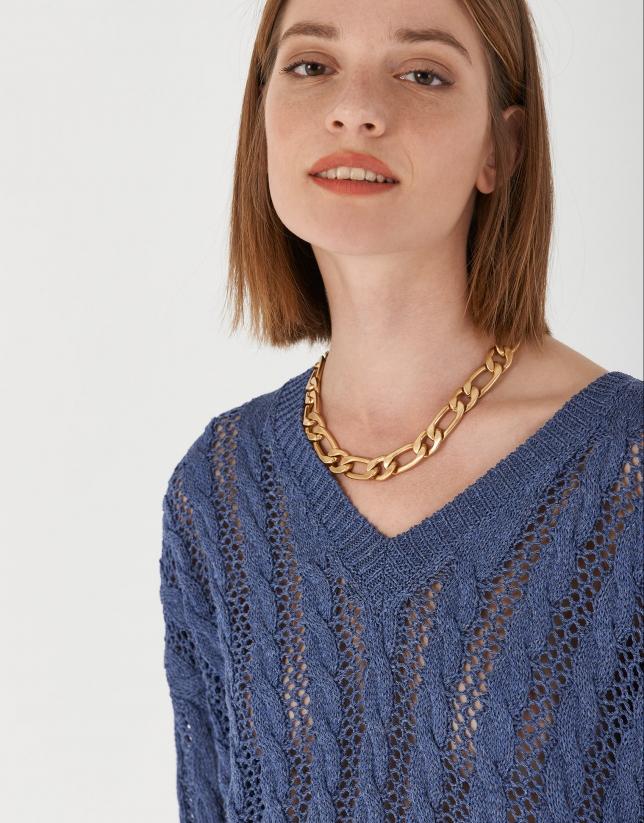 Jersey calado cuello pico azul