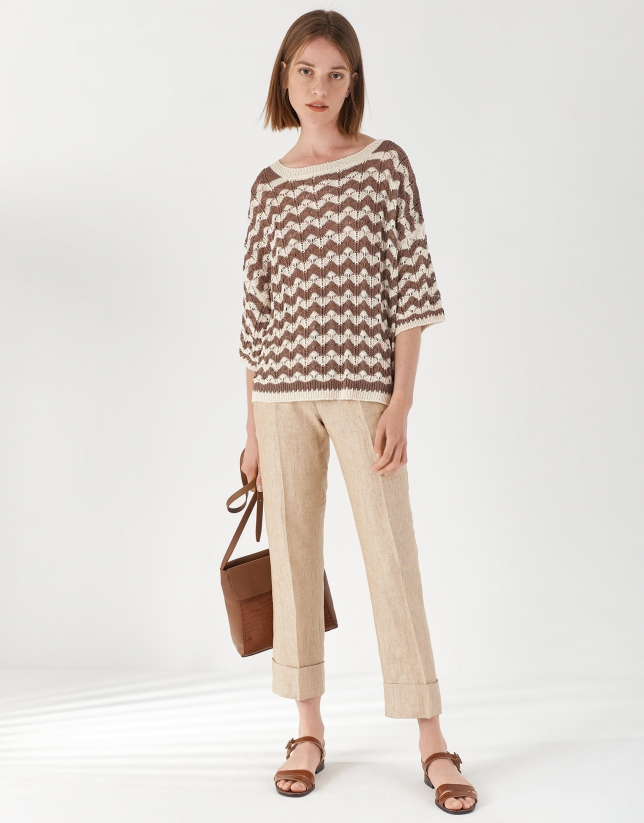 Sand-colored oversize knit sweater with short sleeves