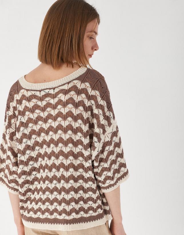 Jersey oversize manga corta bicolor arena/beige