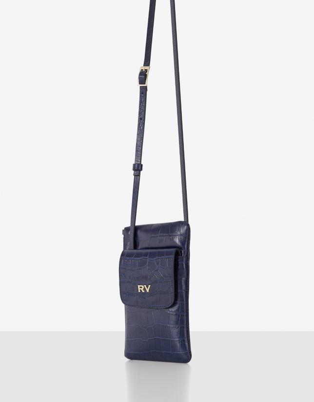 Blue embossed alligator leather cellphone bag