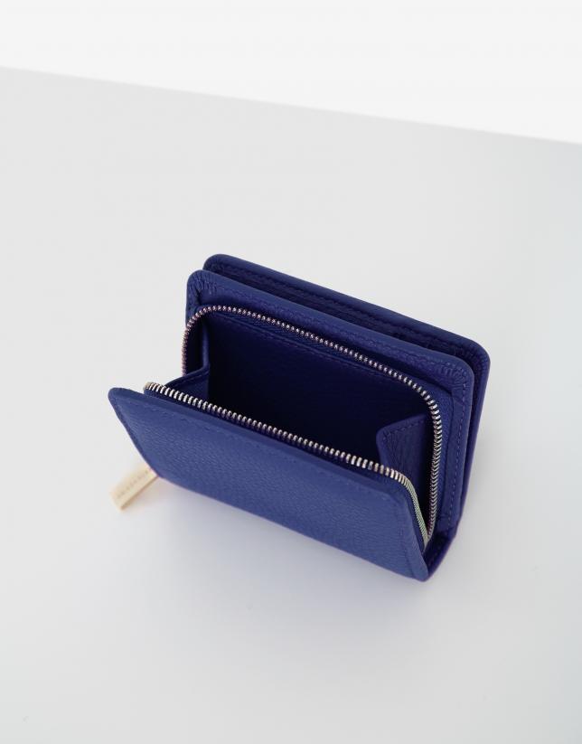 Blue small leather bilfold