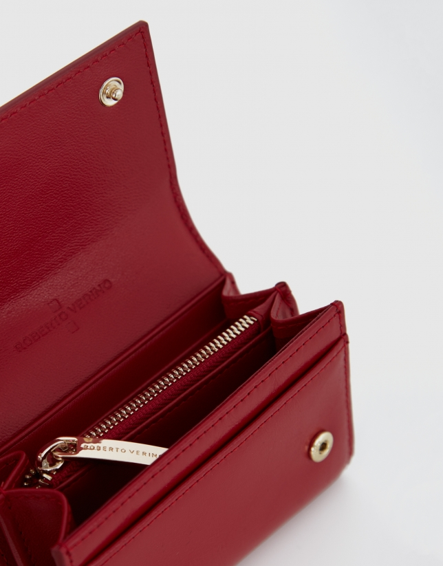 Small red metalized leather wallet with flap