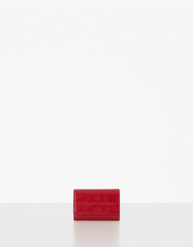 Small red soft leather wallet with flap