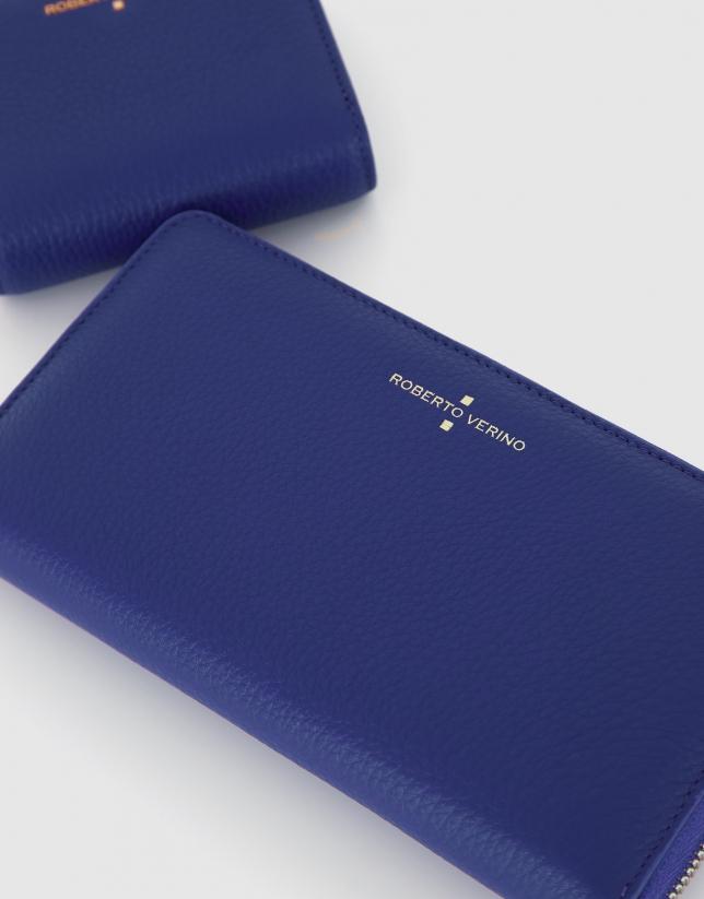 Big blue grainy leather Juliete billfold
