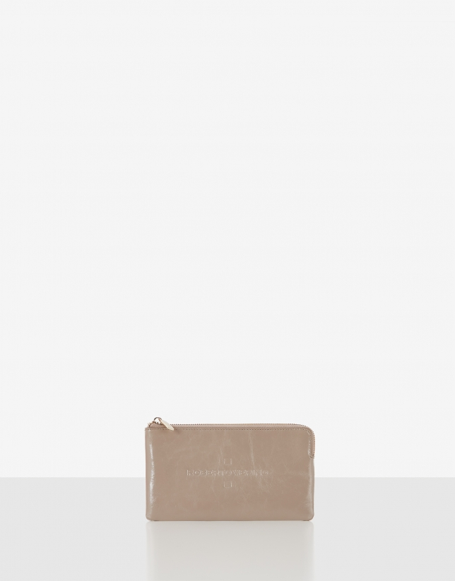 Cream metalized leather change purse