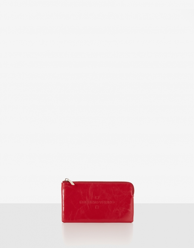 Red metalized leather change purse