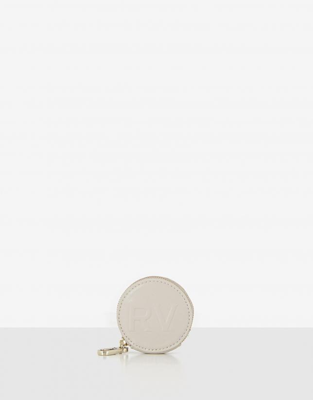 Beige leather round case