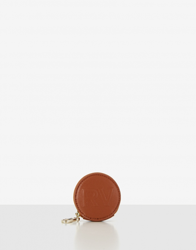 Brown leather round case