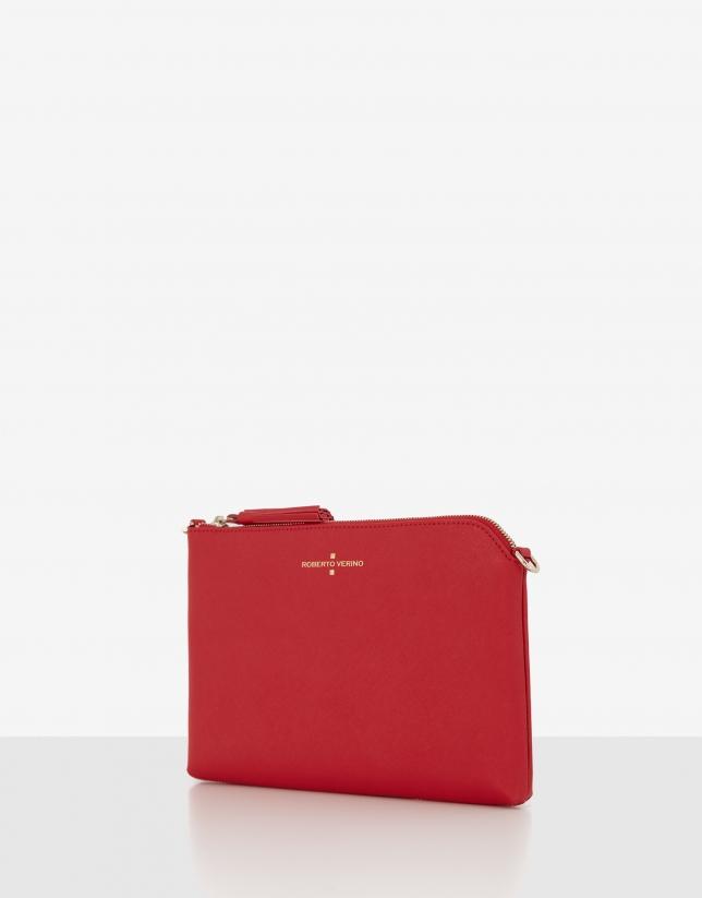 Bolso clutch Lisa piel saffiano roja