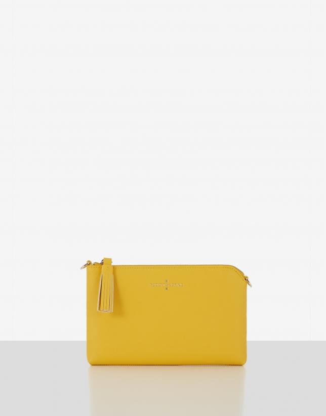 Bolso clutch Lisa Nano piel saffiano amarillo