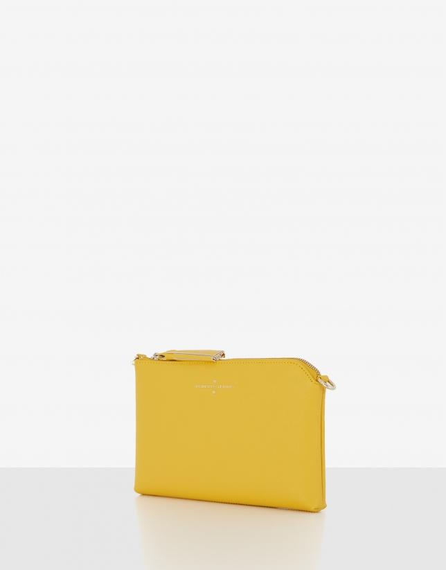 Yellow saffiano leather Lisa Nano clutch bag