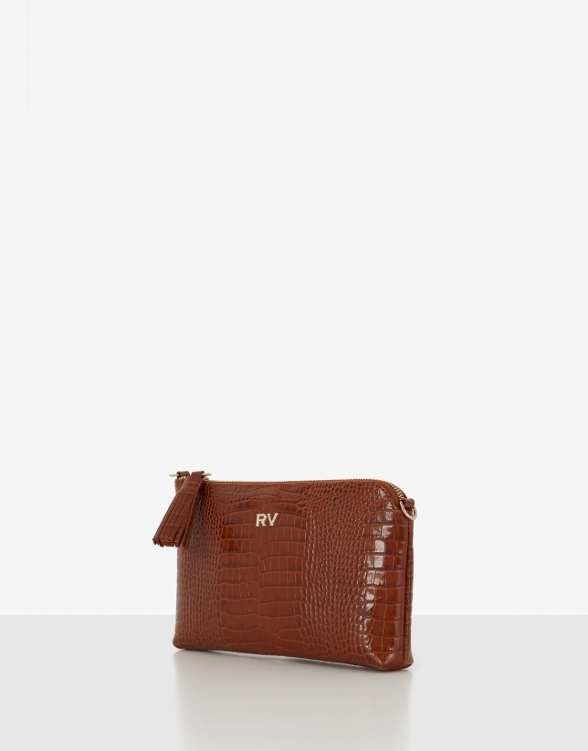 Tan embossed alligator leather Lisa Nano clutch bag