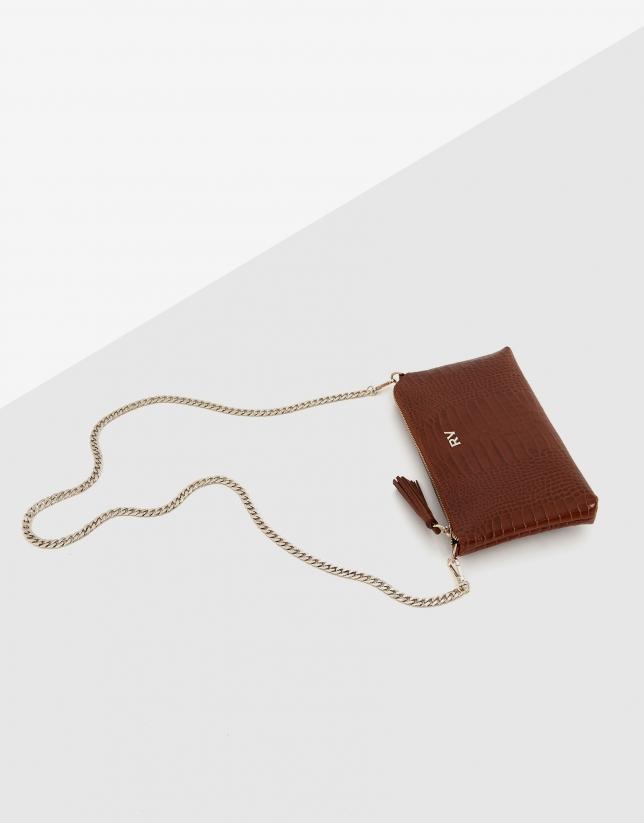Bolso clutch Lisa Nano piel grabado coco cuero