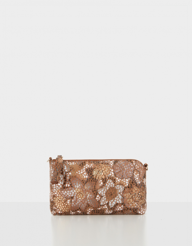 Brown Lisa Nano leather clutch bag with appliqué