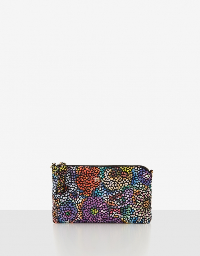 Multicolor Lisa Nano leather clutch bag with appliqué
